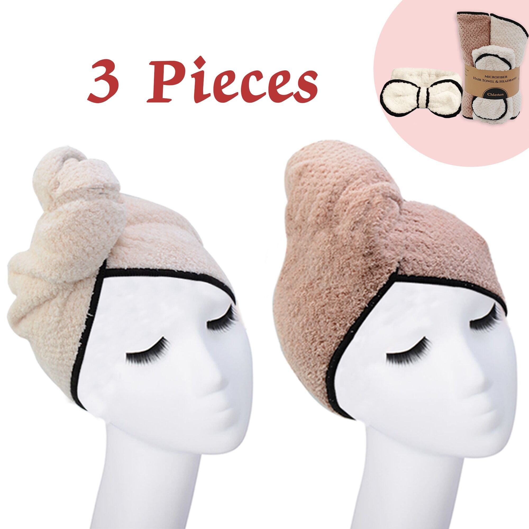 3-Piece Suit Large Hair Dry Towel Cap Twist Hair Turban Wrap Drying Cap Fast Quick Drying Super Absorbent Microfiber Soft Shower Towels