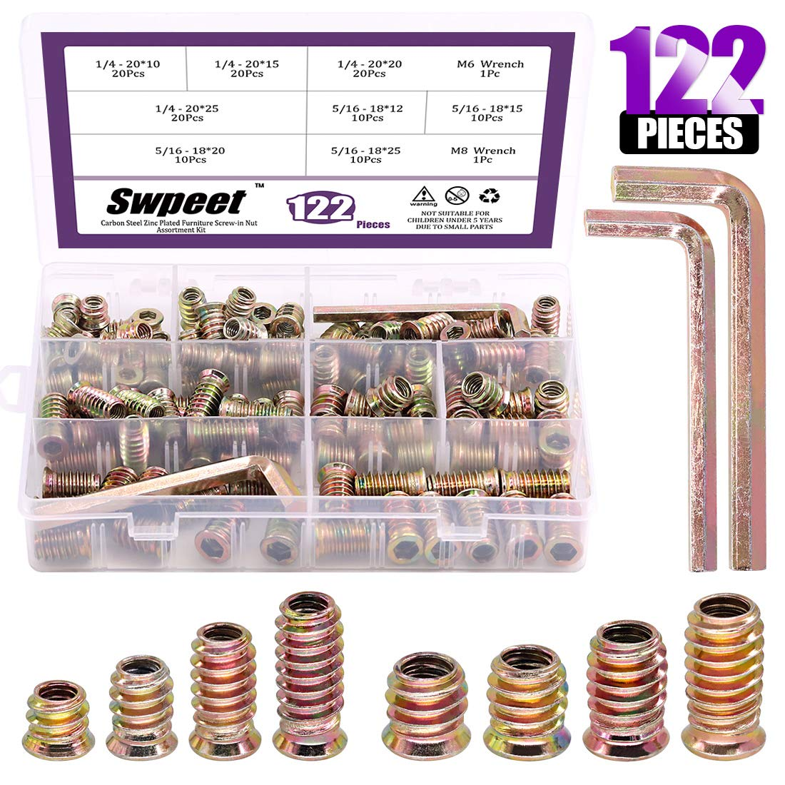 Swpeet 122Pcs Carbon Steel Color Zinc Plated Carbon Furniture Screw in Nut Threaded Wood Inserts Bolt Fastener Connector Hex Socket (1/4 + 5/16, Assortment Kit)