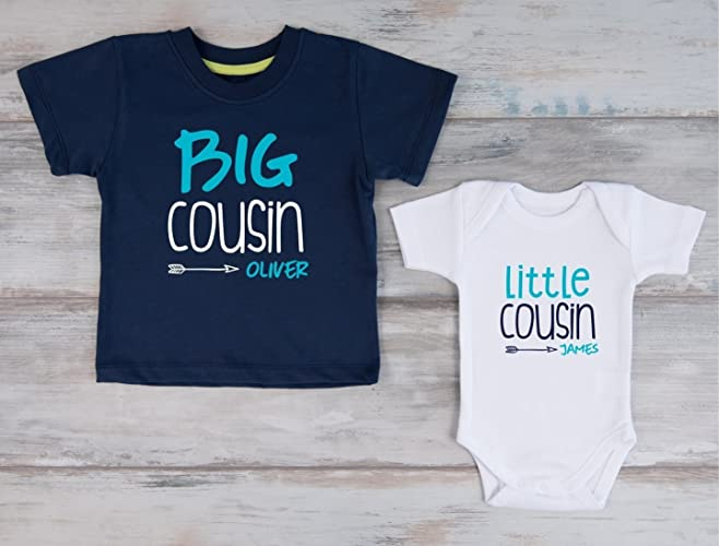 fed2b2c0 Amazon.com: Big Cousin Little Cousin Personalized Shirts, Set of 2 - Navy T- Shirt and White Baby Bodysuit: Handmade