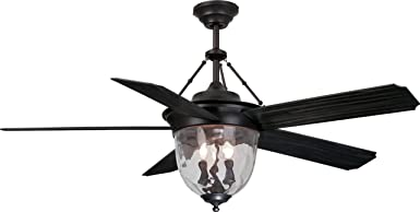 Craftmade KM52ABZ5LKRCI Knightsbridge 52 Outdoor Ceiling Fan with 120 Watts Light Kit and Remote Wall Control, 5 Blades, Aged Bronze