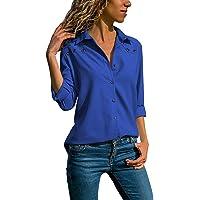 Quceyu Damen Bluse Langarm V-Ausschnitt Elegant Einfarbig Hemd Casual Oberteile Top