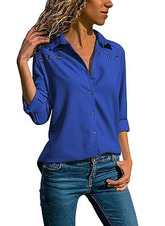 Quceyu Damen Bluse Langarm V-Ausschnitt Elegant Einfarbig Hemd Casual Oberteile  Top (Blau, b66d1133cb