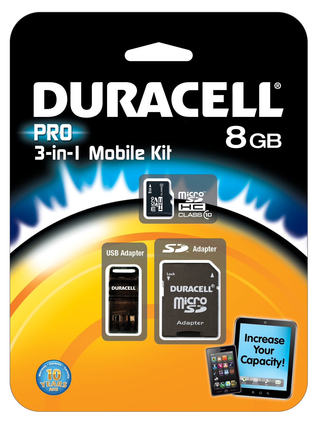 4 GB Micro SD Duracell 3 in 1 Mobile Kit SD adapter /& USB card-reader//adapter