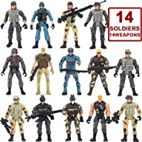Nasidear 14 Pack Army Men and SWAT Team Soldiers Action Figures,Soldiers Action Figures Playset with 14 Design Military Weapons Accessories, for Kids Child Boys Girls