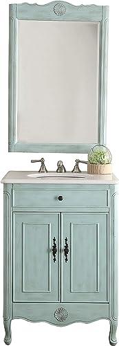26″ Cottage Style Pastel Light Blue Daleville Bathroom Sink Vanity Mirror Set