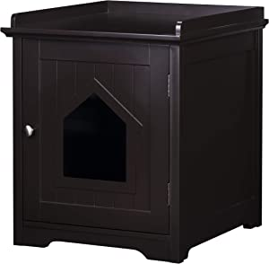 PAWLAND Decorative Cat House,Cat Home, Indoor Pet Crate - Litter Box Enclosure