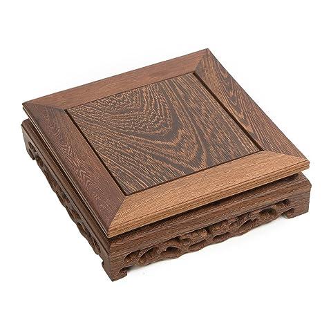 Chino de Madera pantalla soporte de forma cuadrada tallada madera maciza de palisandro Chicking ala jichi