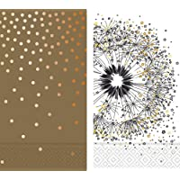 Design Design Guest Towels Collection Bundle of 2 Patterns (Brilliance-Gold & Wish, 24 Towels)