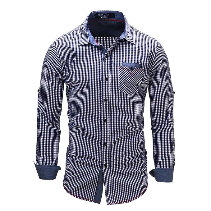 Camicia Uomo LandFox Slim Fit Denim Maglietta a Maniche