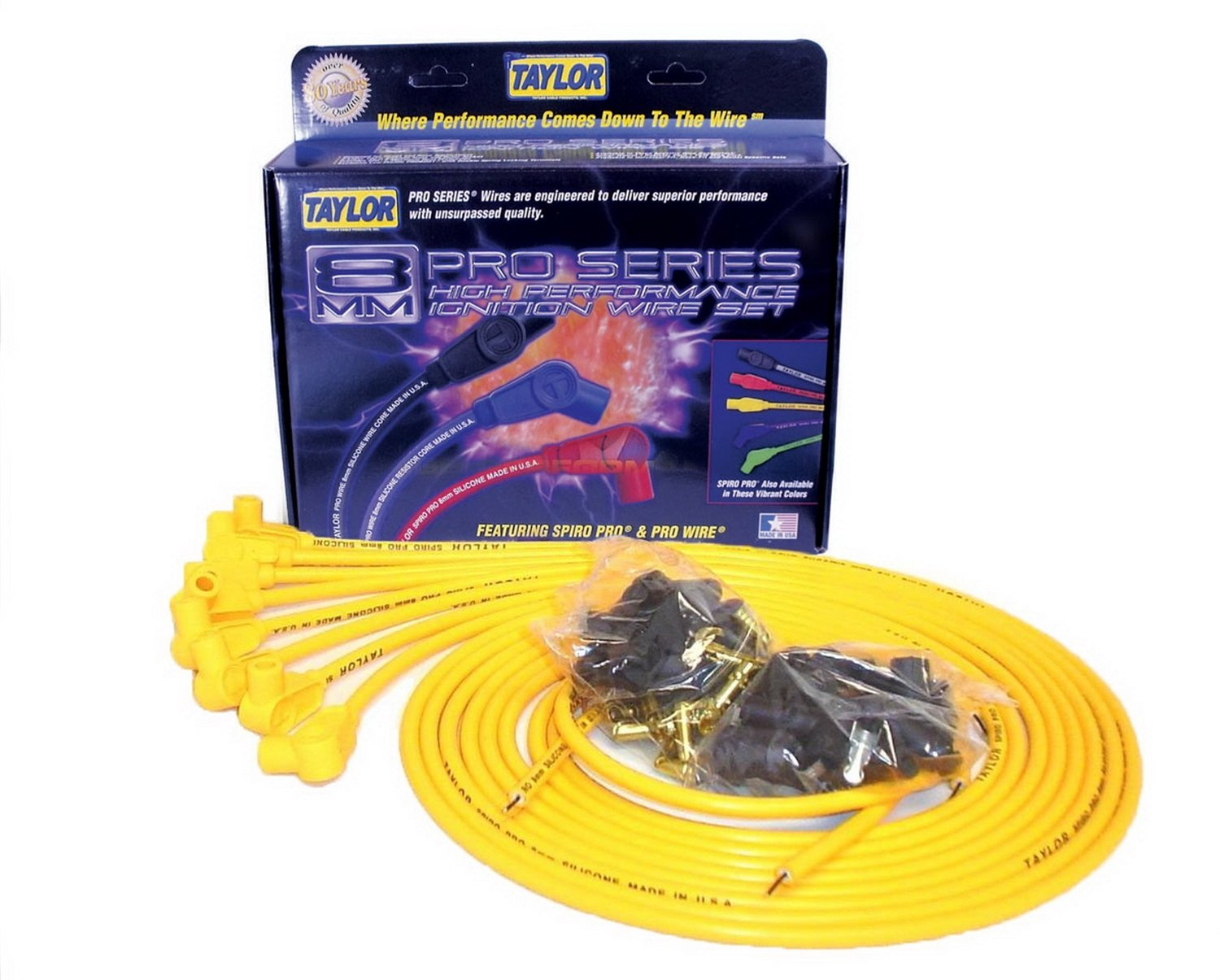 Taylor Cable 73451 Spiro-Pro Yellow Spark Plug Wire Set by Taylor Cable