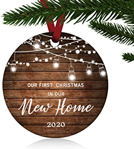 "ZUNON First Christmas in Our New Home Ornaments 2020 Our First Christmas New Home Married Wedding Decoration 3"" Ornament (New Home Ornament 1)"