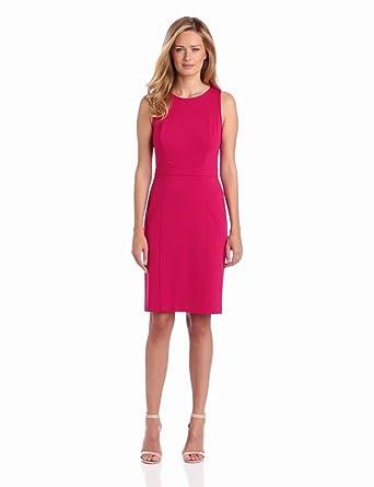 Nine West Dresses Women's Ponte Hourglass Sheath Dress, Cerise, 4