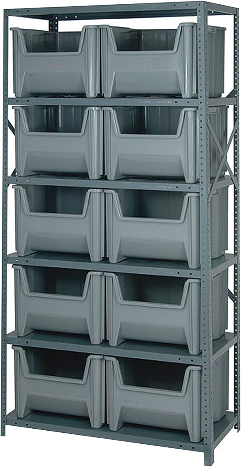 B000E1HJT0 Quantum Storage Metal Shelving Unit with 10 Giant Hopper Bins - 36in.W x 18in.D x 75in.H Rack Size, Gray, Model Number QSBU-800G 71DYBjRhlfL.SL1500_