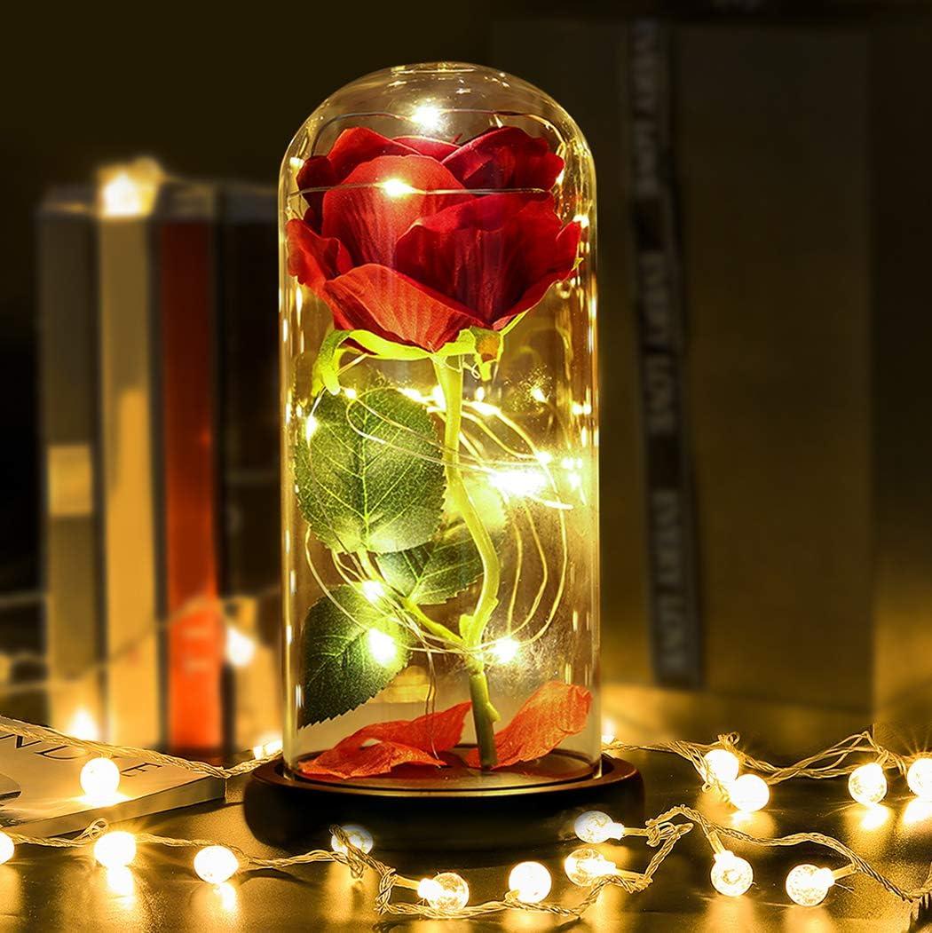 Kapmore Rose im Glas Ewige Rose Infinity Rosen Die Sch/öne und das Biest Rose romantische Geschenke f/ür Hauptdekor Geburtstag Weihnachtstag Muttertag Valentinstag Jubil/äum Hochzeit