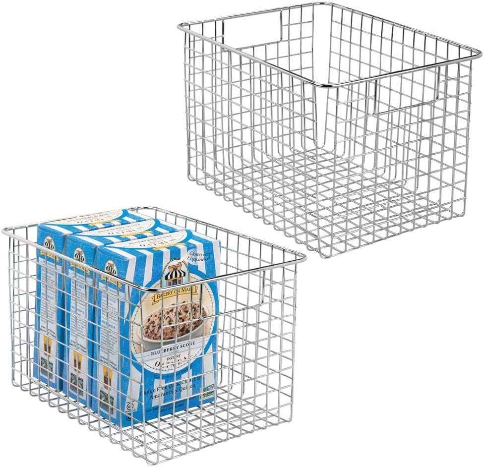 bo/îte en m/étal pour la cuisine panier en m/étal compact multi-usage avec poign/ées etc mDesign panier de rangement polyvalent lot de 4 couleur bronze le garde-manger