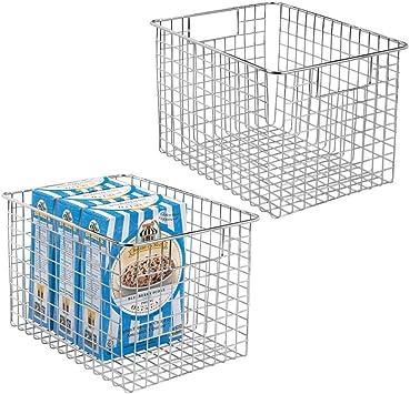 lot de 2 le garde-manger bo/îte en m/étal pour la cuisine argent/é panier en m/étal compact multi-usage avec poign/ées etc mDesign panier de rangement polyvalent