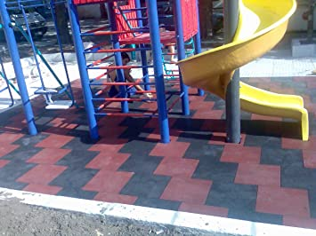7 x Negro SUELOS PARA PARQUES INFANTILES suelos de caucho protector Losetas de caucho: Amazon.es: Jardín