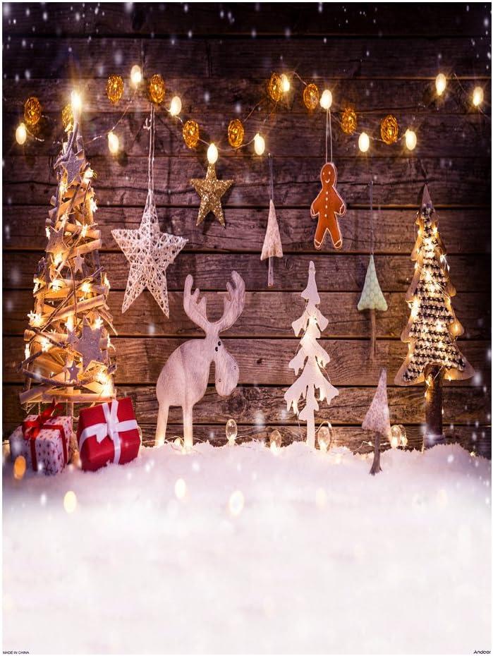Andoer Tela de Fondo Navidad 1,5 * 2 m decoración de fotografía Plegable de poliéster Fibra para cámara réflex Digital Photo Studio