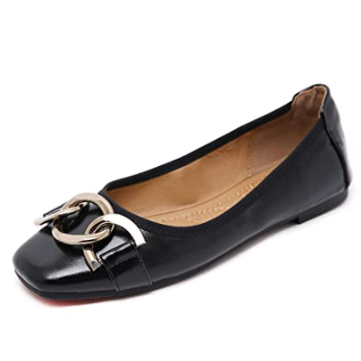 Orangetime Square Toe Shoes Women Ballerina PU Leather Flats Slip on Casual Shoes Comfort Walking Shoes | Shoes