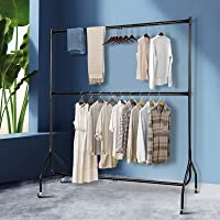 6FT Clothes Racks Metal Garment Display Rolling Dual Double Rails Adjustable Height Hanger Airer Stand Portable with…