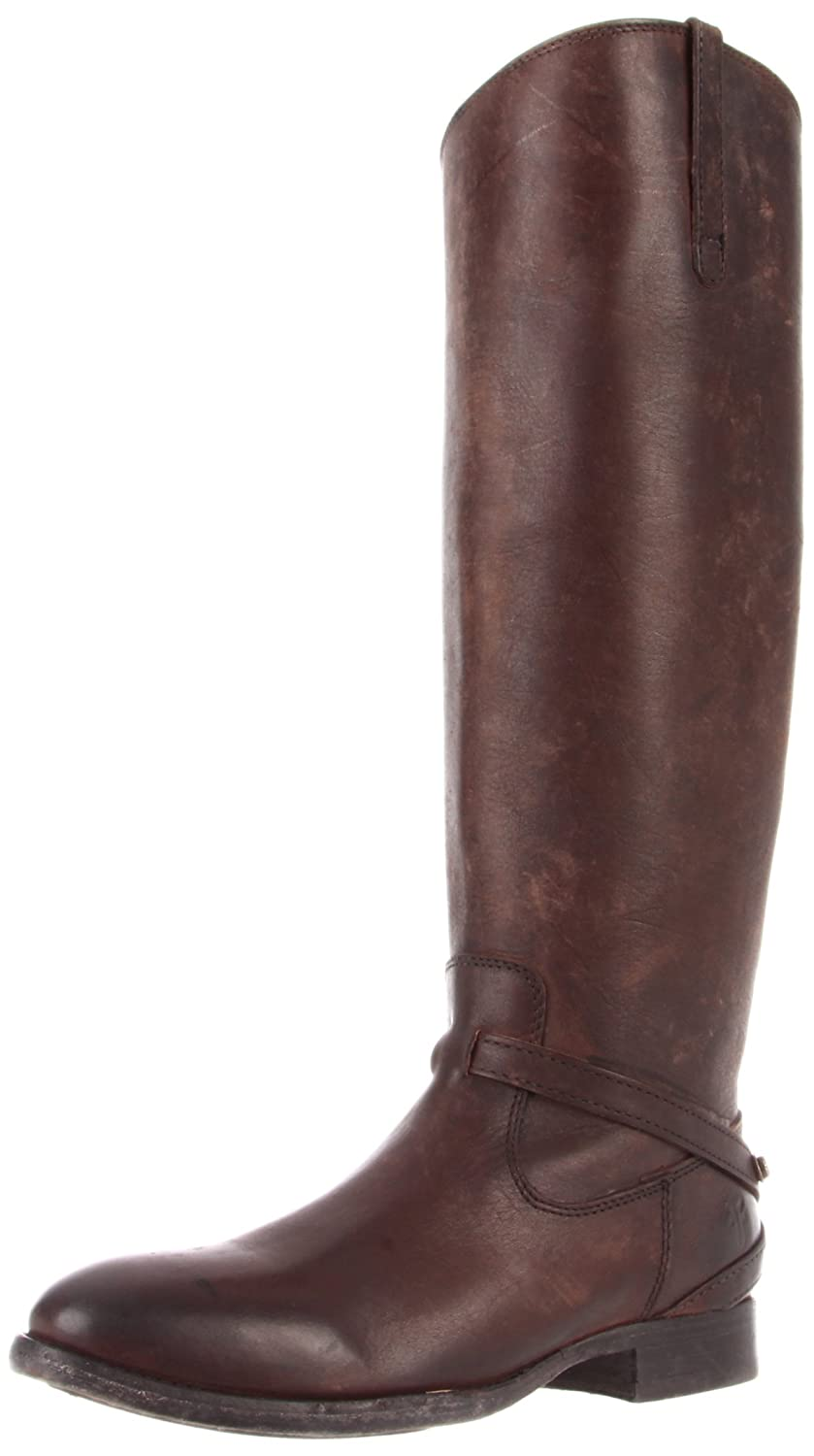 FRYE Women's Lindsay Plate Knee-High Boot B006NYP47G 10 B(M) US|Dark Brown Stone Wash Leather-76975