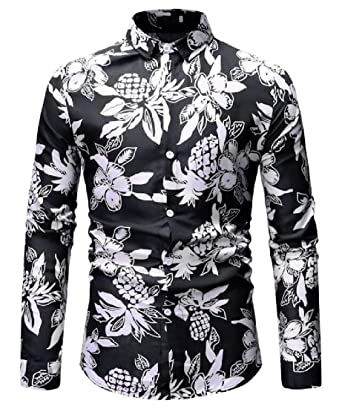 7ebba6f90dd779 X-Future Mens Non-Iron Long Sleeve Casual Buttons Slim Fit Simple Floral  Print Lapel Shirts at Amazon Men's Clothing store: