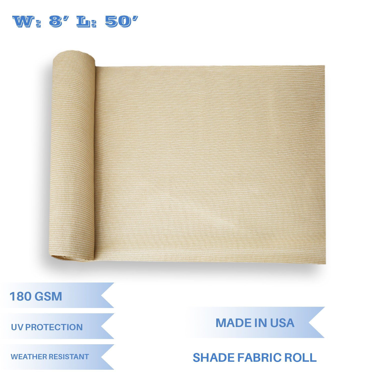 E&K Sunrise 8' x 50' Beige Sun Shade Fabric Sunblock Shade Cloth Roll, 95% UV Resistant Mesh Netting Cover for Outdoor,Backyard,Garden,Greenhouse,Barn,Plant (Customized by E&K Sunrise
