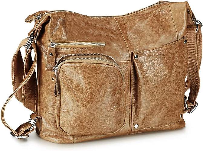 Women Real Leather Handbag Large Multi Pocket Cabin Bag Shoulder Bag Purse BROWN