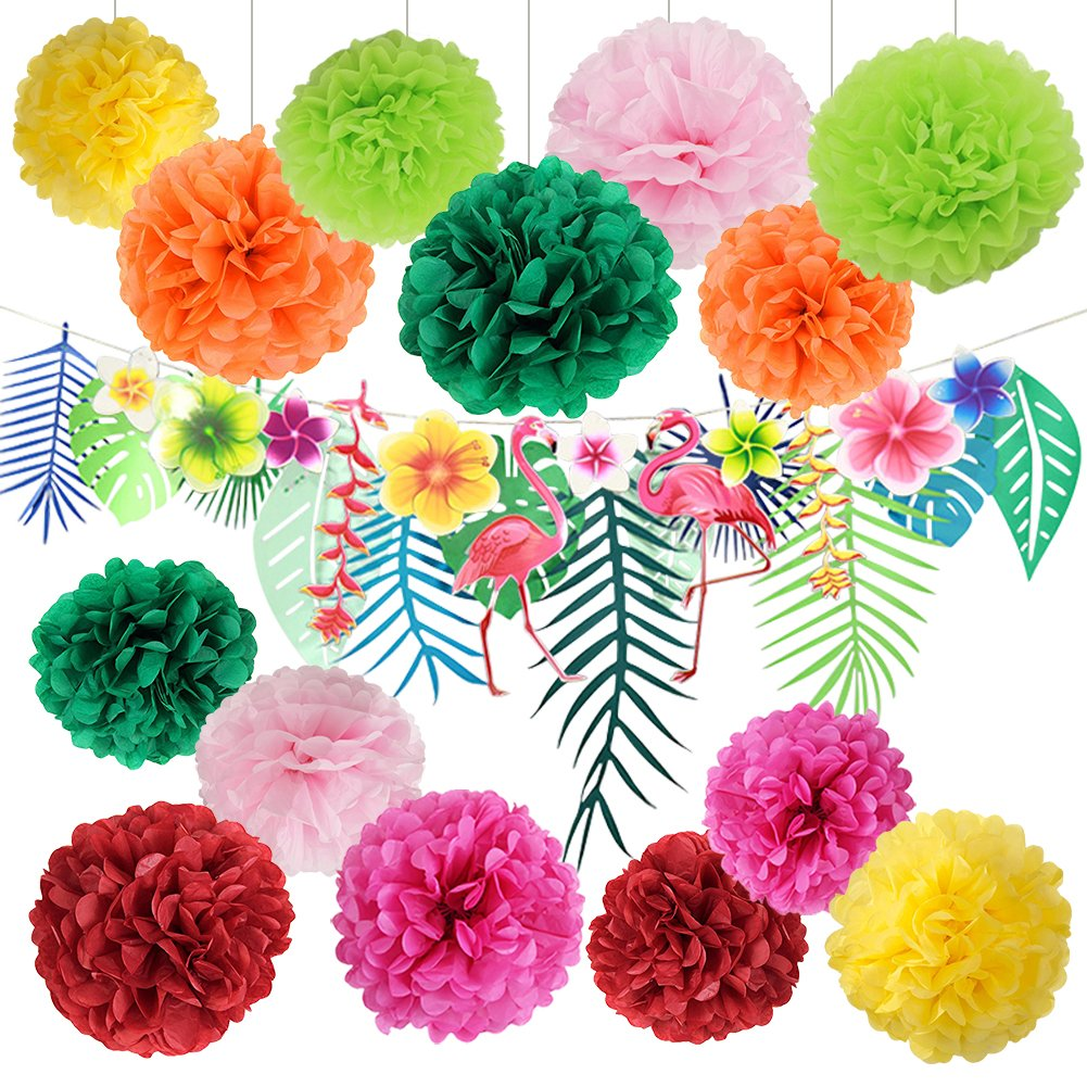 Amazon hawaiian luau party decorations tropical tiki hibiscus amazon hawaiian luau party decorations tropical tiki hibiscus flowers and flamingos banner large artificial tropical leaves banner garland tissue paper izmirmasajfo
