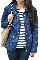Women's Spring Slim Military Jacket Downtown Field Utility Anorak Zip Up Coat