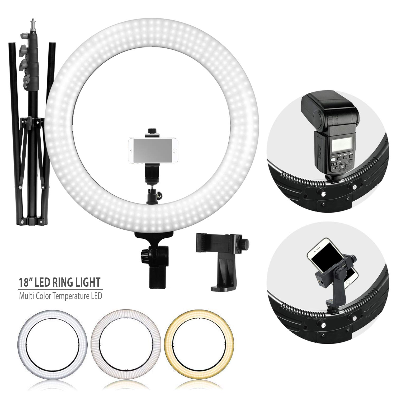 LimoStudio LED Ring Light 18-inch Diameter with Tripod Stand, Angle Adjusting Camera Holding Plate, Cell Phone Holding Clip, Color Filter Fabric Cover, Facial Beauty Photo Shooting, AGG1451V2 by LimoStudio