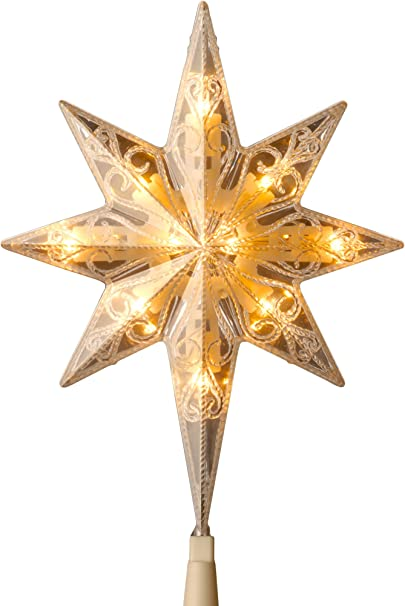 Sienna 11 Lighted Faceted Bethlehem Star Christmas Tree Topper Clear Lights
