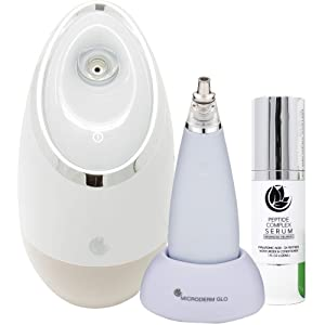 Microderm GLO MINI Facial Spa Skincare Bundle Includes Diamond Microdermabrasion System, Facial Spa, Peptide Complex Serum. Best Anti Aging Treatment Blackhead Remover and Pore Vacuum Kit