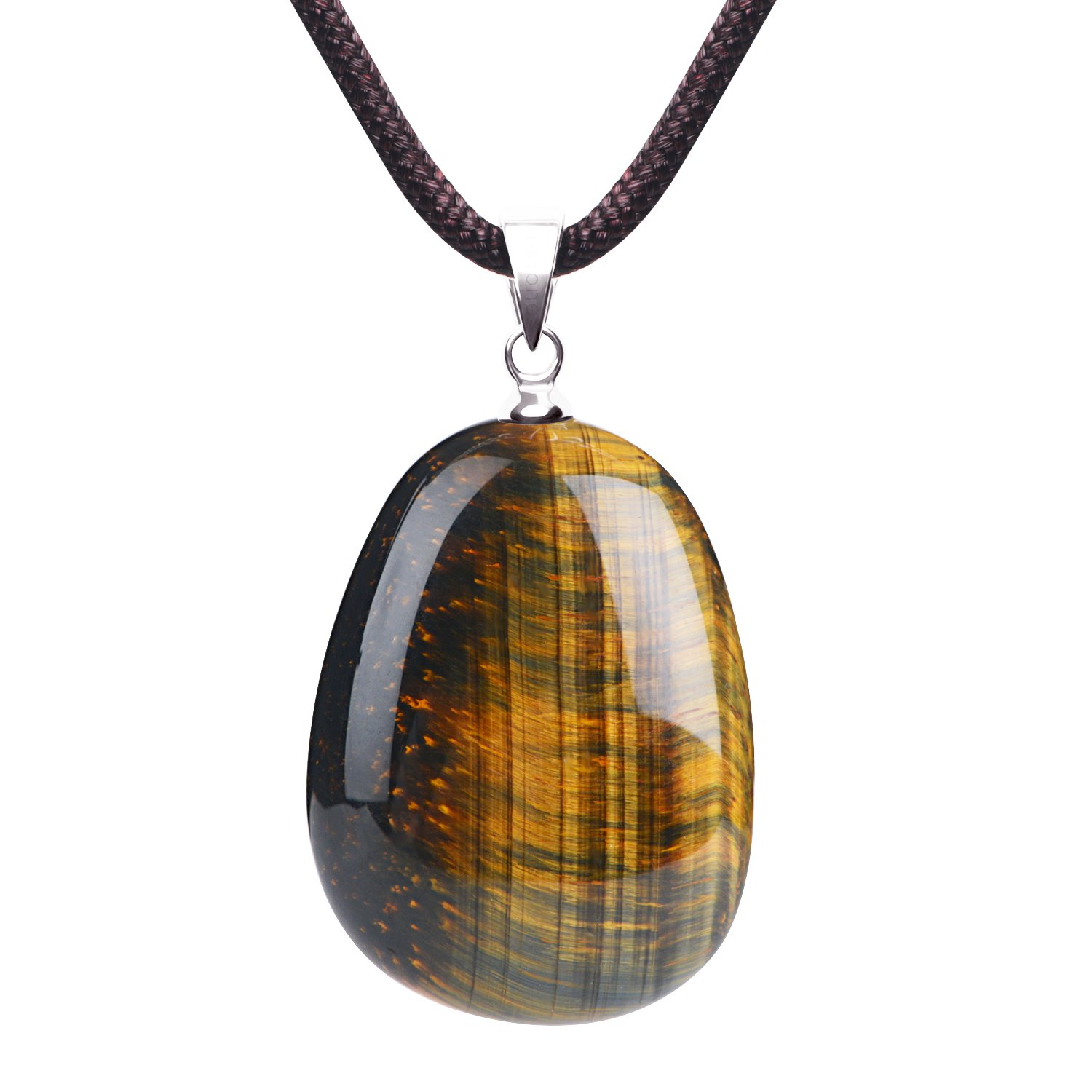 iSTONE Natural Gemstone Tiger's Eye Water Drop Lucky Birth Stone Pendant Necklace For Men & Women Rope Chain 18 Inch