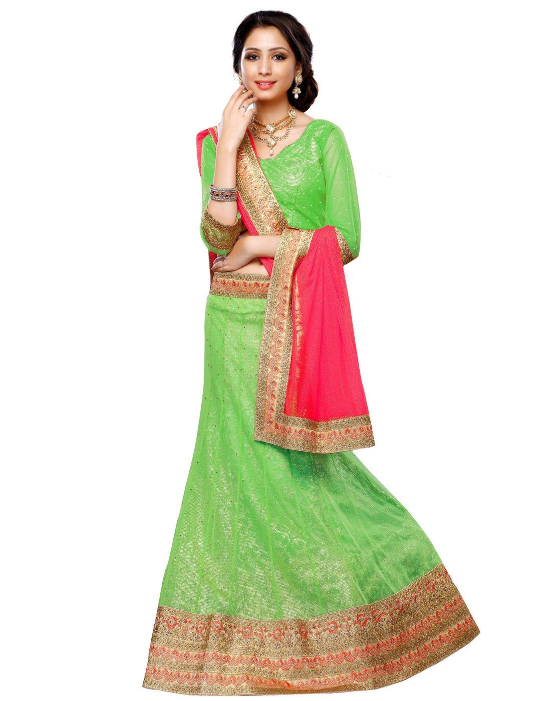 DesiButik's Wedding Wear Ravishing Parrot Green Soft Net Lehenga
