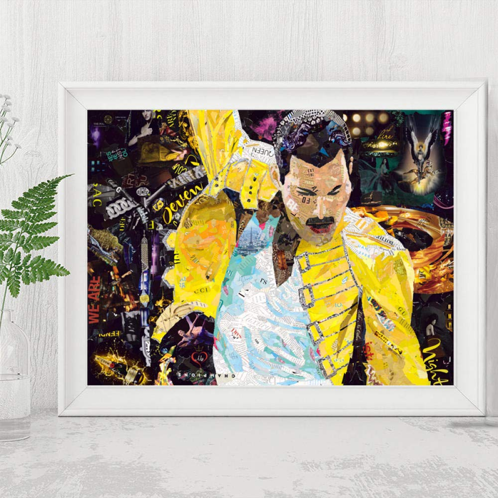 Und Hergerissen Freddie Mercury Poster Malerei Auf Leinwand Schlafzimmer Wandkunst Dekoration Bilder Home Decor 50cm x75cm No Frame WJY Rock Band Baby Ich War Hin