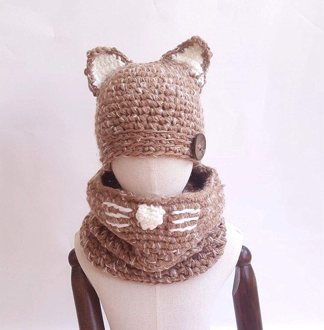 Z-YQL Winter Kids Warm Cat Animal Hats Knitted Coif Hood Scarf Beanies Autumn Winter