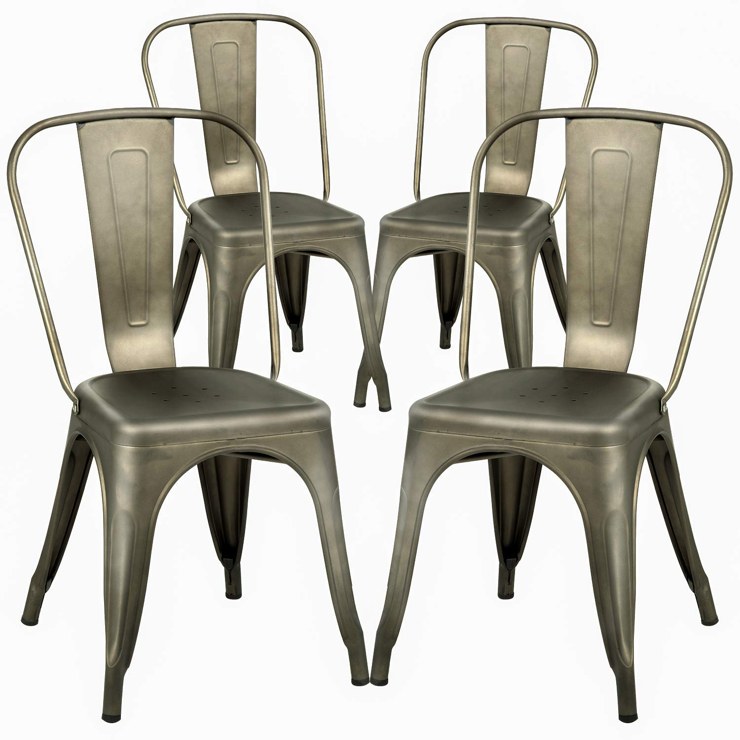 FDW Dining Chairs Set of 4 Metal Chairs Patio Chair Dining Room Kitchen Chair 18 Inches Seat Height Tolix Restaurant Chairs Trattoria Metal Indoor Outdoor Chairs Bar Stackable Chair by FDW