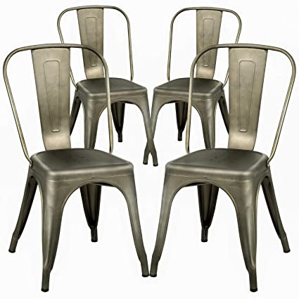 FDW Dining Chairs Set of 4 Metal Chairs Patio Chair Dining Room Kitchen Chair 18 Inches Seat Height Tolix Restaurant Chairs Trattoria Metal Indoor Outdoor Chairs Bar Stackable Chair