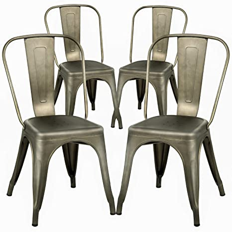 Remarkable Dining Chairs Set Of 4 Metal Chairs Patio Chair Dining Room Kitchen Chair 18 Inches Seat Height Tolix Restaurant Chairs Trattoria Metal Indoor Outdoor Home Interior And Landscaping Eliaenasavecom