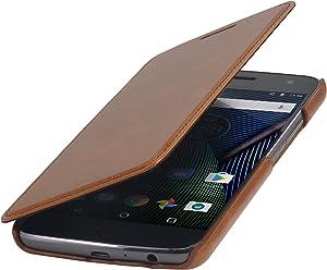 StilGut Book Type Case senza Clip, custodia booklet a libro apertura laterale in vera pelle per l'originale Lenovo Moto G5 Plus, Cognac