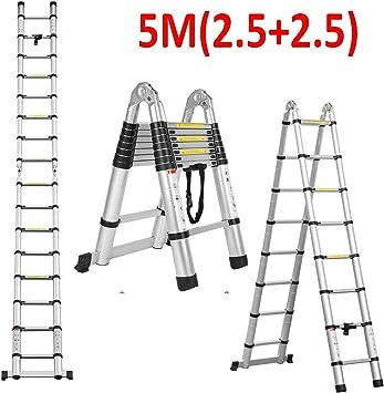 Escalera telescópica de aluminio multiusos de 5 m con escalones extensibles de 2,5 m + 2,5 m: Amazon.es: Bricolaje y herramientas