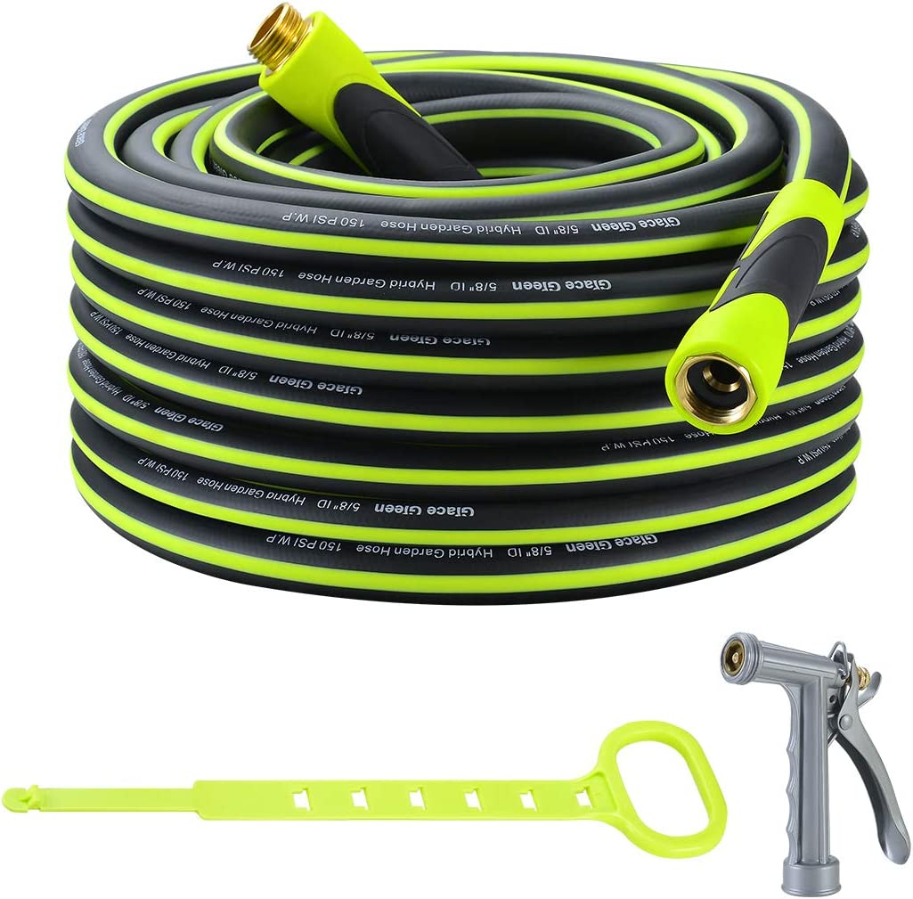 Grace Green Garden Hose,Hybrid 5/8 in.×75FT Water Hose, Both End SwivelGrip, Heavy Duty, Light Weight, Flexible