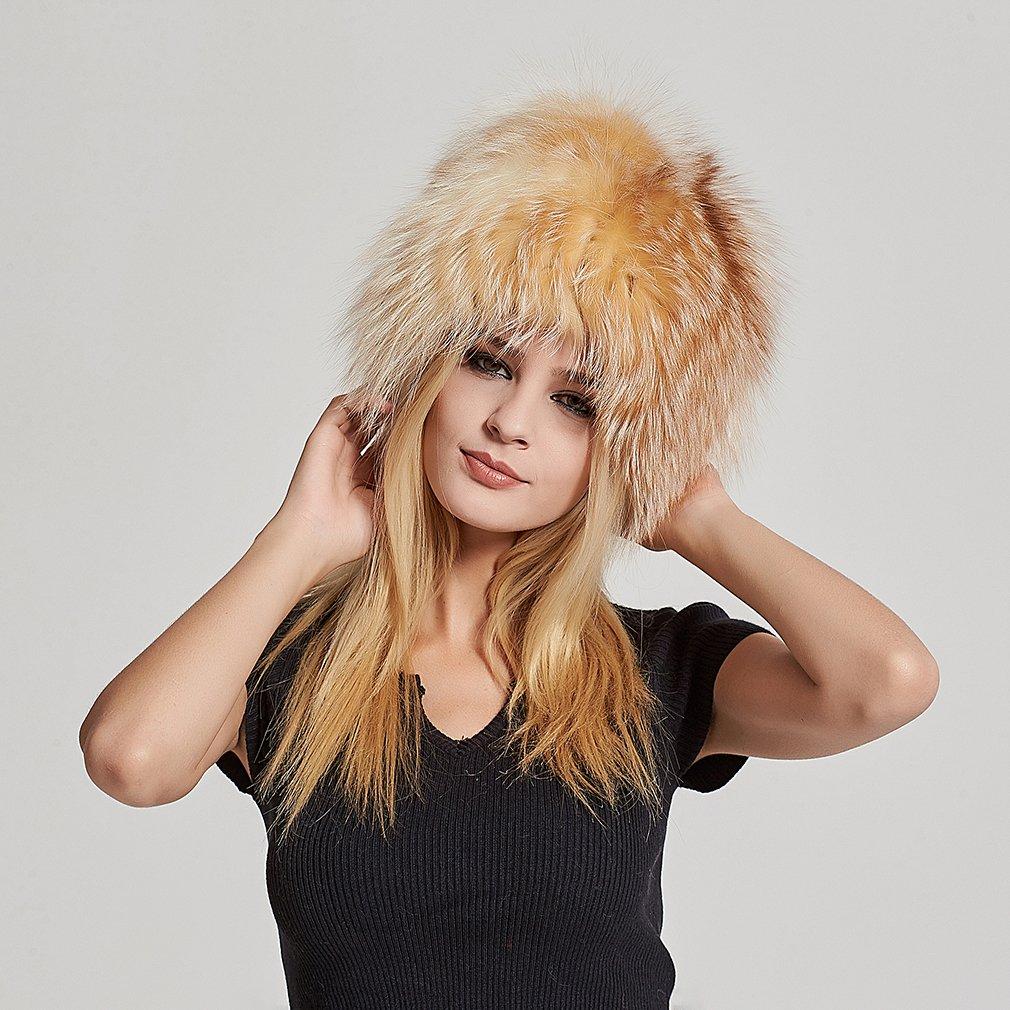 Fur Story Women's Real Fox Fur Skullies Beanie Hat Elastic Warm Winter Hats Gold Fox by Fur Story (Image #2)