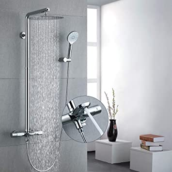 Duschsystem mit großer Kopfbrause 30x30 cm inkl Thermostat und Handbrause weiß