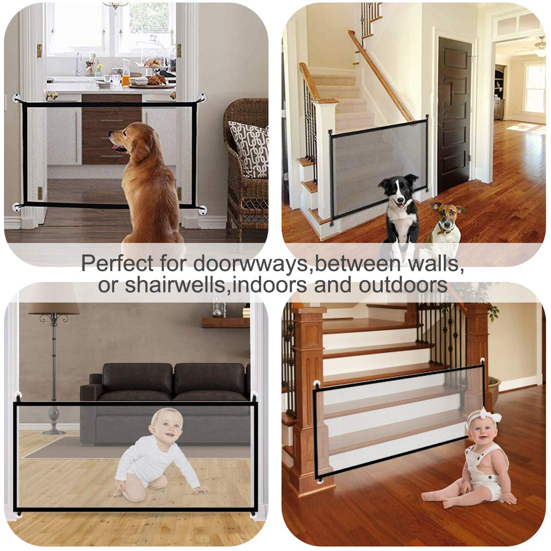 43.3''x28.3''Magic Dog Gate,Portable Folding Pet Safety Gate,Baby Safety Fence for House Indoor Stair/Doorway Use by Bedtime Originals (Image #2)