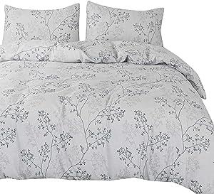 OREISE Duvet Cover Set Full/Queen Size 100% Cotton 3Piece Bedding with Zipper Closure (White Branch,Queen)