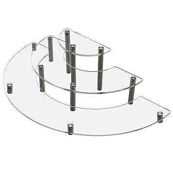 Amazing MyGift Clear Acrylic Half Moon Shelf Unit / 3 Tier Tabletop Display Riser