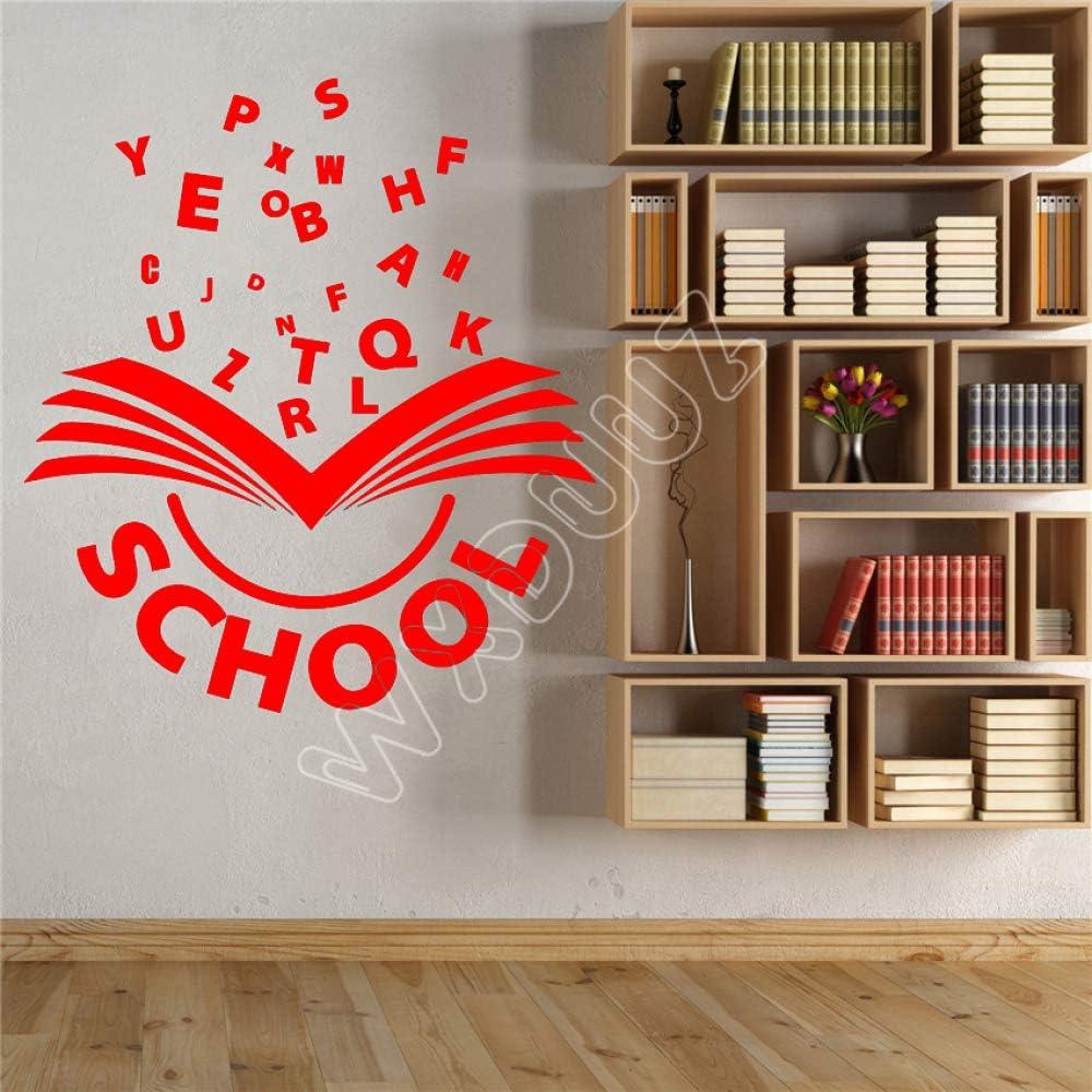 yaoxingfu Etiqueta de la Pared de Vinilo Libro Abierto Letras del Alfabeto Palabra Escuela Aprendizaje Pegatinas Cocina Sala de Estar Etiqueta de la Pared de Vinilo WW-2 97x87cm: Amazon.es: Hogar