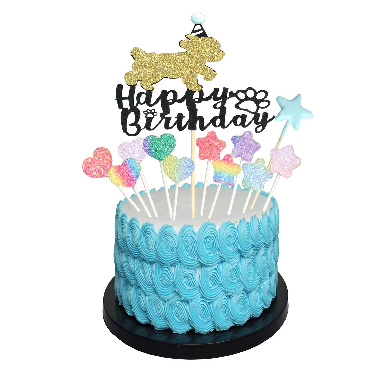 Enjoyable Dog Happy Birthday Cake Topper Cake Puppy Pick For Pet Dog Funny Birthday Cards Online Drosicarndamsfinfo
